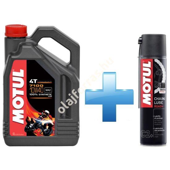 Motul 7100 4T 10W-40 4L + Motul Road Plus lánckenő spray