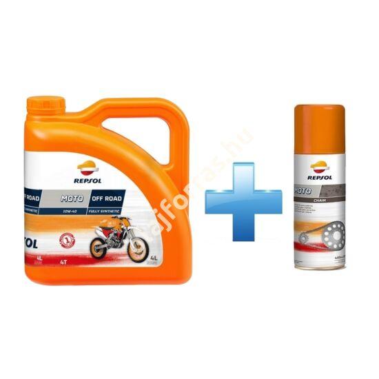 Repsol Moto Off Road 4T 10W-40 4L +  Ajándék Repsol Lánckenő Spray