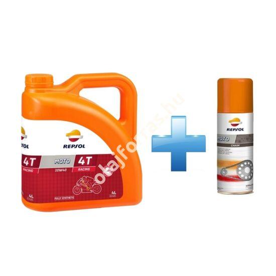 Repsol Moto Racing 4T 10W-40 4L +  Ajándék Repsol Lánckenő Spray
