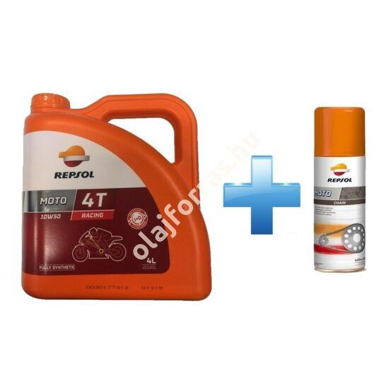 Repsol Moto Racing 4T 10W-50 4L +  Ajándék Repsol Lánckenő Spray