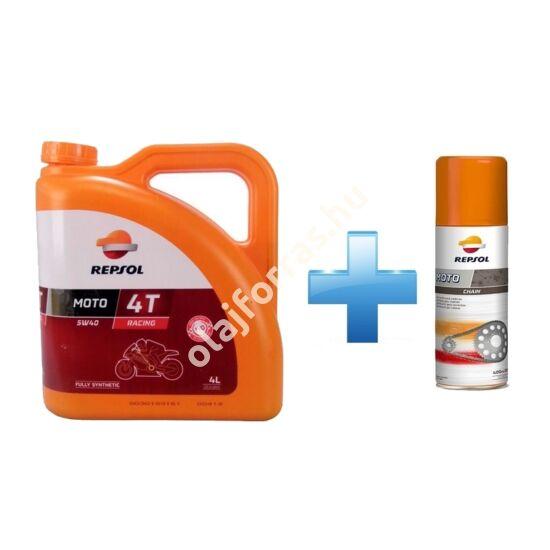 Repsol Moto Racing 4T 5W-40 4L +  Ajándék Repsol Lánckenő Spray