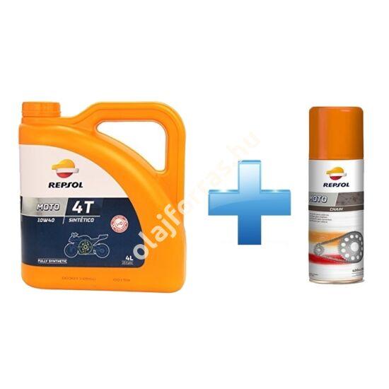 Repsol Moto Sintetico 4T 10W-40 4L +  Ajándék Repsol Lánckenő Spray